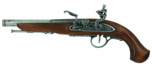 Flintlock Pistol Gun - Denix Left Handed English Flintlock Pistol, Gray