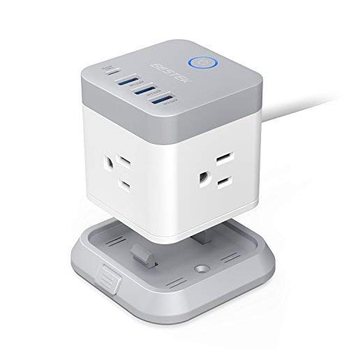 Vertical Mounting Base - BESTEK Power Strip with USB, Vertical Cube Mountable Power Outlet Extender with 3 Outlets, 3 USB & 1 Type-C Ports, 5-Foot Extension Cord and Detachable Base for Easy Mounting
