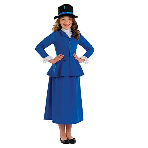 fun shack Girls Victorian Magic Nanny Costume Kids Historical Dress Outfit - Medium]()