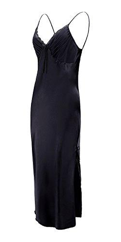 EPLAZA Women Plain Satin Chemise Long Slip Night Dress Gown Sleepwear Loungewear (Medium, Black) (Dress Long Silk)