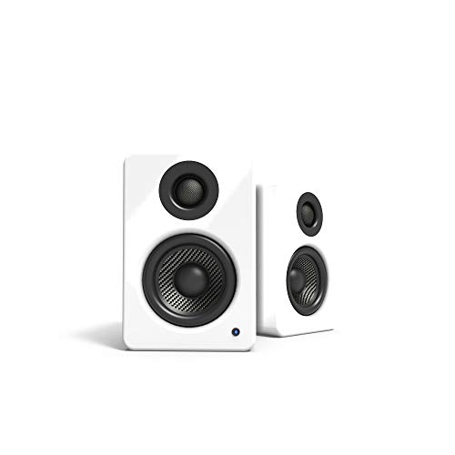 Kanto 2 Channel Powered PC Gaming Desktop Speakers - 3 Composite Drivers 3/4 Silk Dome Tweeter - Class D Amplifier - 100 Watts - Built-in USB DAC - Subwoofer Output - YU2GW (Gloss White)