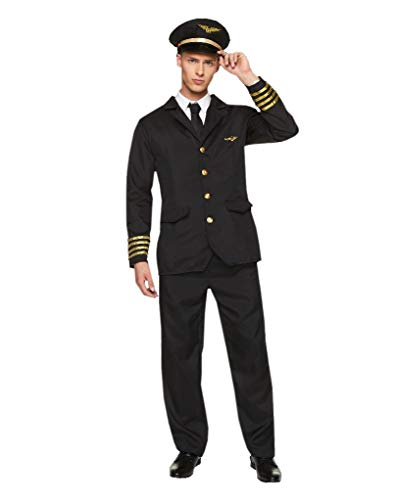 Airline Pilot Costume Set - Halloween Mens Flight Officer Suit, Medium -