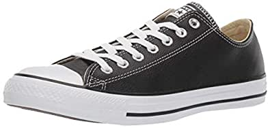 Converse Womens Unisex-Adult Chuck Taylor All Star Leather Low Top Black Size: 4 M US