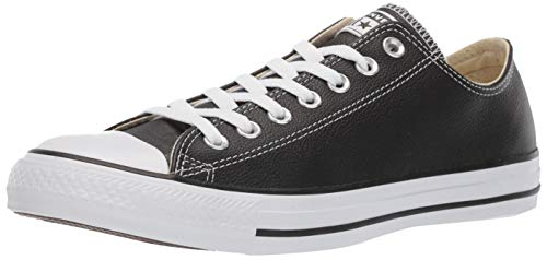 Low Leather Sneakers - Converse Chuck Taylor All Star Leather Low Top Sneaker, Black, 8 M US