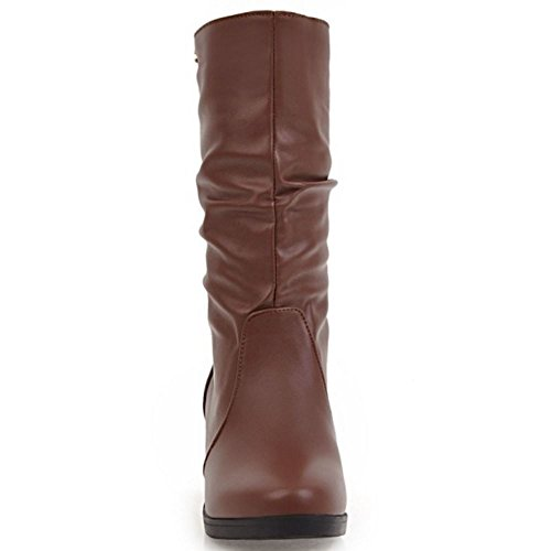Low Brown Calf Slouch On Women Boots Coolcept Flats Pull Mid Comfort vEfTUw