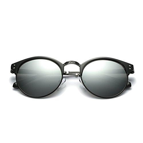 c5f66f554e LUOMON Polarized Clubmaster Sunglasses for Men Women Metal Black Silver  Frame Silver Round Lens Polarized Fashion Glasses LM036