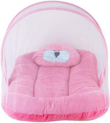 Royal Harsh Nylon Kids Velvet Baby Bedding Set with Fold able Mattress Mosquito Net (Pink)
