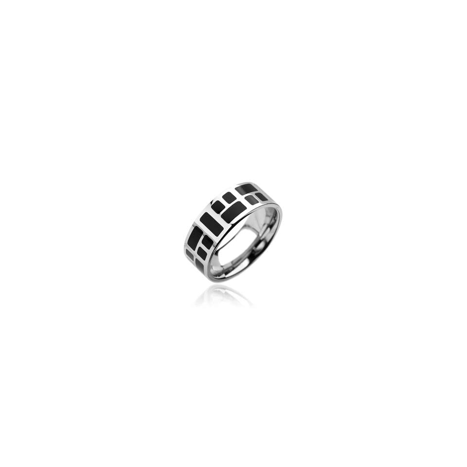 Mens Stainless Steel Ring Band Black With Mozaic Size 11