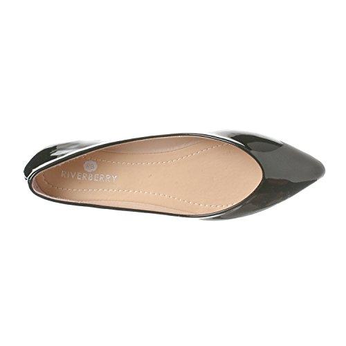 Closed Flat Black Pointed Women's On Toe Patent Ella Basic Ballet Slip Shoe Riverberry HFBqO