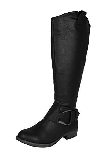 f7ceead31ff9 Lustacious Women s Knee High Equestrian Riding Side Metal Buckle Boot with  Side Zipper