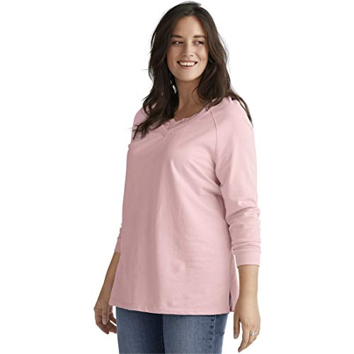 Ellos Women's Plus Size Lace-Trim V-Neck Sweatshirt - Misty Rose, 26/28