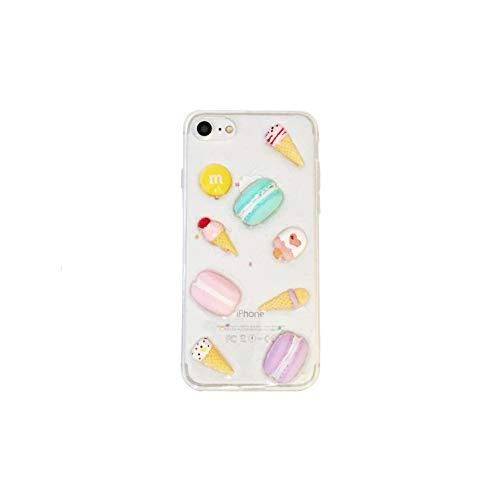 HolaStar Cute Stylish Case for iPhone 7/8 Unique Colorful 3D Candy Macaron Ice Cream Doughnut with Glitter Confetti Sprinkles for Girls Women, Clear Transparent Soft Silicone Case