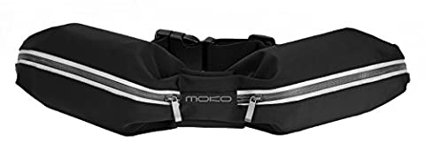 Sports Running Bag, MoKo Outdoor Dual Pouch Sweatproof Reflective Waist Pack, Fitness Workout Belt Fanny Pack for iPhone X, 8, 7, 6S, SE, Galaxy S8+, S8, S7 Edge, S6, BLU, LG, Moto - - Sports And Outdoors