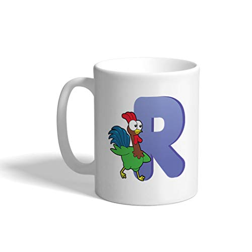 Custom Funny Coffee Mug Coffee Cup R Rooster Letter Alphabet White Ceramic Tea Cup 11 OZ Design Only