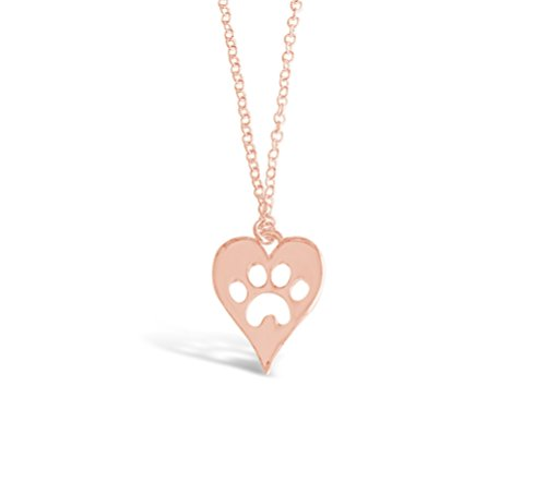 Rosa Vila Dog Paw Heart Necklace, Puppy Necklace for Owners of All Dog Breeds, Dog Remembrance Necklace, Veterinarian Necklace and K9 Officer Gift for Women (Rose Gold Tone)