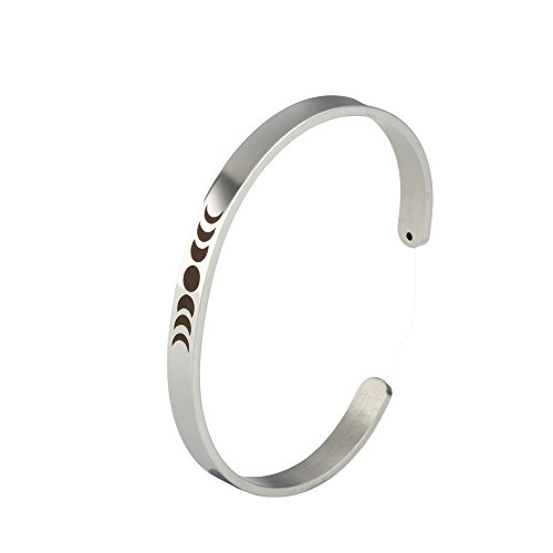 - Meiligo Fashion Alloy Moon Phases Astrology Bracelet Pendant Triple Goddess Jewelry (Silver)