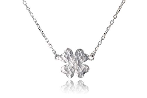 (Dote Lucky Four-Leaf Clover Pendant Dainty Genuine .925 Sterling Silver Hammered Necklace w/16-18 Adjustable Chain)