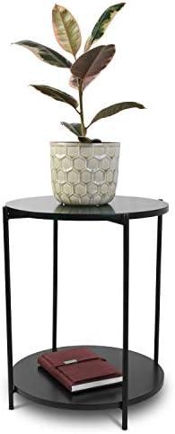 Beste Authentiek Bijzettafel rond Ø40 cm H 50 cm metalen frame zwart met MDF-platen - salontafel woonkamertafel koffietafel IIAPNAK