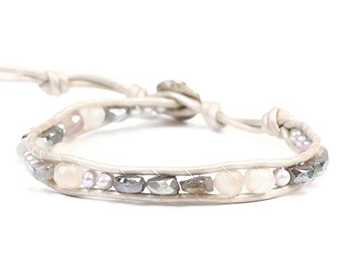 Chan Luu Mystic Grey and White Semi Precious Mineral Stone Beaded Leather Single Wrap Bracelet