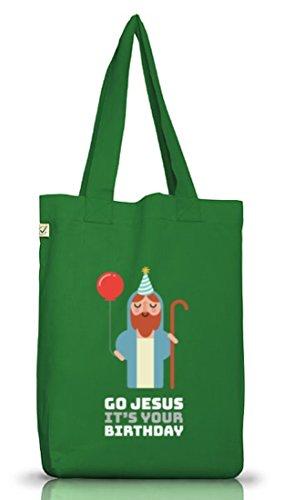 Weihnachten Jutebeutel Stoffbeutel Earth Positive mit Go Jesus Its Your Birthday Motiv Moss Green
