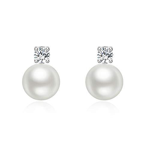 YFN Pearl Earrings for Women, 8 mm Freshwater Cultured Pearl Cubic Zirconial Stud Earrings 925 Sterling Silver