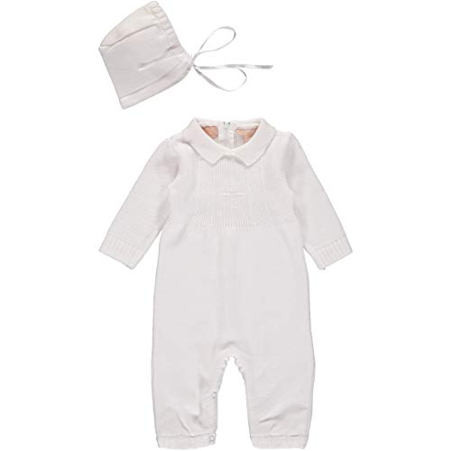 - Baby Boy's Christening Outfit with Bonnet Hat - Cross Detail (3 Months) White