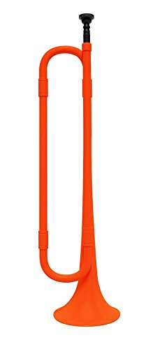 - Contemporary Plastic Bugle Trumpet with Mouthpiece : Orange and Black : Bb Flat