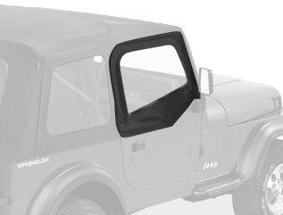 Sunrider Black Denim - Bestop 51780-15 Black Denim Fabric Upper Half Door Set for 1988-1995 Wrangler - Front