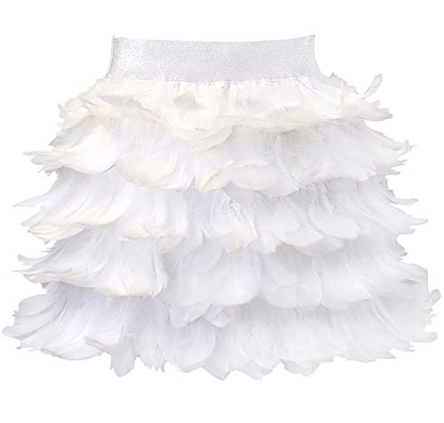 L'VOW Women Real Natural Feather Fashion Mid Waist Mini A-line Skirt (S, ()