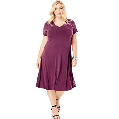 Roamans Women's Plus Size Swing Dress with Curved Hem - Deep Claret, -