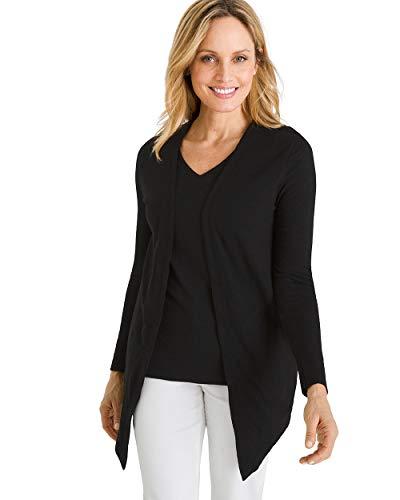 (Chico's Women's Cotton Slub Cardigan Size 4/6 S (0) Black)