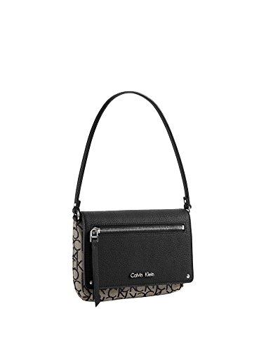 Calvin Klein Womens Nadina Logo Flap Wristlet Purse Handbag (Granite) by Calvin Klein