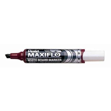 Pentel Maxiflo Whiteboard-Marker, trocken abwischbar, abgeschrä gte Spitze, Schwarz, 12 Stü ck MWL6-AO