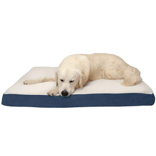 Furhaven Pet Dog Bed | Deluxe Orthopedic Mat Sherpa & Suede Traditional Foam Mattress Pet Bed for Dogs & Cats, Navy, Jumbo