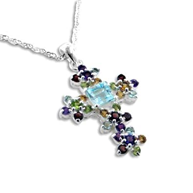 Radiant Cluster Blue Topaz Natural Gemstone Flower Cross Pendant 20 Necklace Sterling Silver