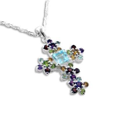 Blue Topaz Garnet Cross - Radiant Cluster Blue Topaz Natural Gemstone Flower Cross Pendant 20