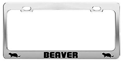 Got Beaver Black Metal License Plate Frame Tag Holder