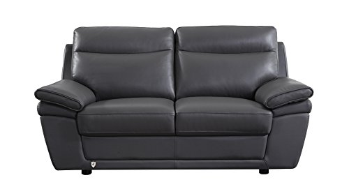 American Eagle Furniture EK092-GR-LS Irvine Mid-Century Modern Italian Leather Living Room Loveseat, 71