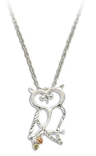 Landstroms Sterling Silver Owl Pendant Necklace with 12k Black Hills Gold Leaves, 18