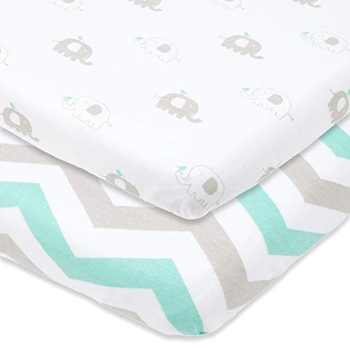 Bassinet Sheets Set 2 Pack for Boy & Girl by Cuddly Cubs | Soft & Breathable 100% Jersey Cotton | Fitted Elastic Design | Mint & Grey Chevron & Elephant -