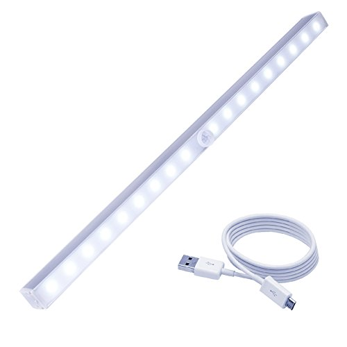 Cshidworld Motion Sensor Closet light, Updated Version DIY Stick-on Anywhere Portable Wireless 18 LED Cabinet/Wardrobe/Stairs/Step Light Bar,LED Night Light with Magnetic Strip(USB Rechargeable)