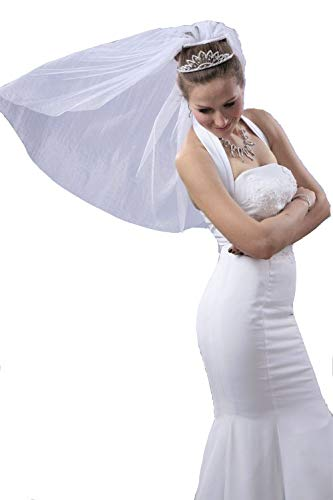 Bridal Wedding Simple Veil 1 Tier Short Shoulder Length Ivory Standard Cut Edge