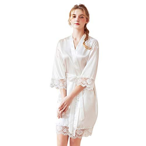 Emimarol Women Satin Nightgown Sexy Lingerie Sleepwear Babydoll Robe Underwear Night Dress White