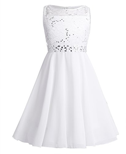 - YiZYiF Kids Sequins Rhinestone Belt Embroidered Communion Pageant Wedding Party Flower Girls Dresses Z1 Chiffon White 4
