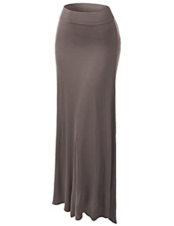 J.TOMSON Womens Basic Solid Maxi Skirt MOCHA S