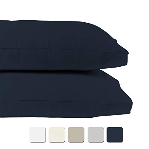 BIOWEAVES 100% Organic Cotton Pillow Case Set 300 Thread Count Sateen Weave GOTS Certified - King, Set of 2, Navy Blue