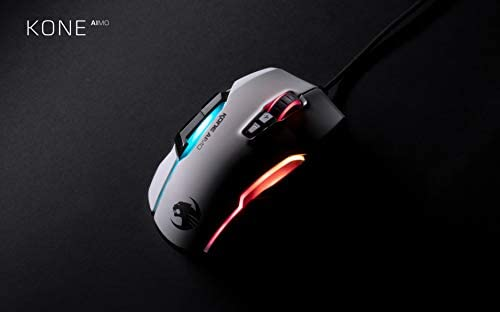 ROCCAT Kone AIMO Gaming Mouse (High Precision, Optical Owl-Eye Sensor (100 to 16.000 DPI), RGB Aimo LED Illumination, 23 Programmable Keys, Designed in Germany) White (Remastered)