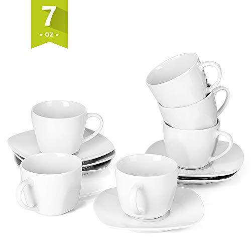 - Malacasa 12-Piece Tea Cups and Saucers Sets 7 oz White Coffee Cups Ceramic Drinkware Set Service for 6, Series Elisa