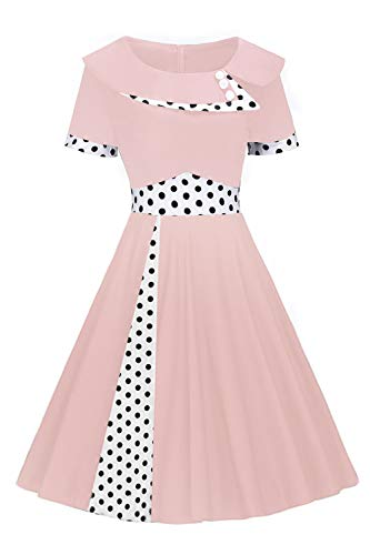(ROSE IN THE BOX Women's Short Sleeve O-Neck Rockabilly Wear to Work Dress,Size 2XL Pink)