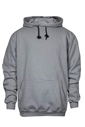 National Safety Apparel C21IG03MD 14 oz Flame Resistant Modacrylic Blend Fleece Hooded Pullover Sweatshirt, Medium, Gray